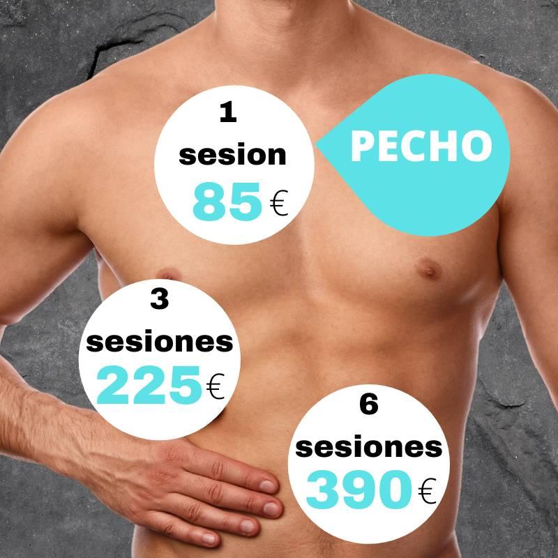 Precios bonos depilación laser hombre en Pamplona - Pecho